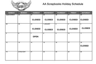 Holiday Schedule Screenshot